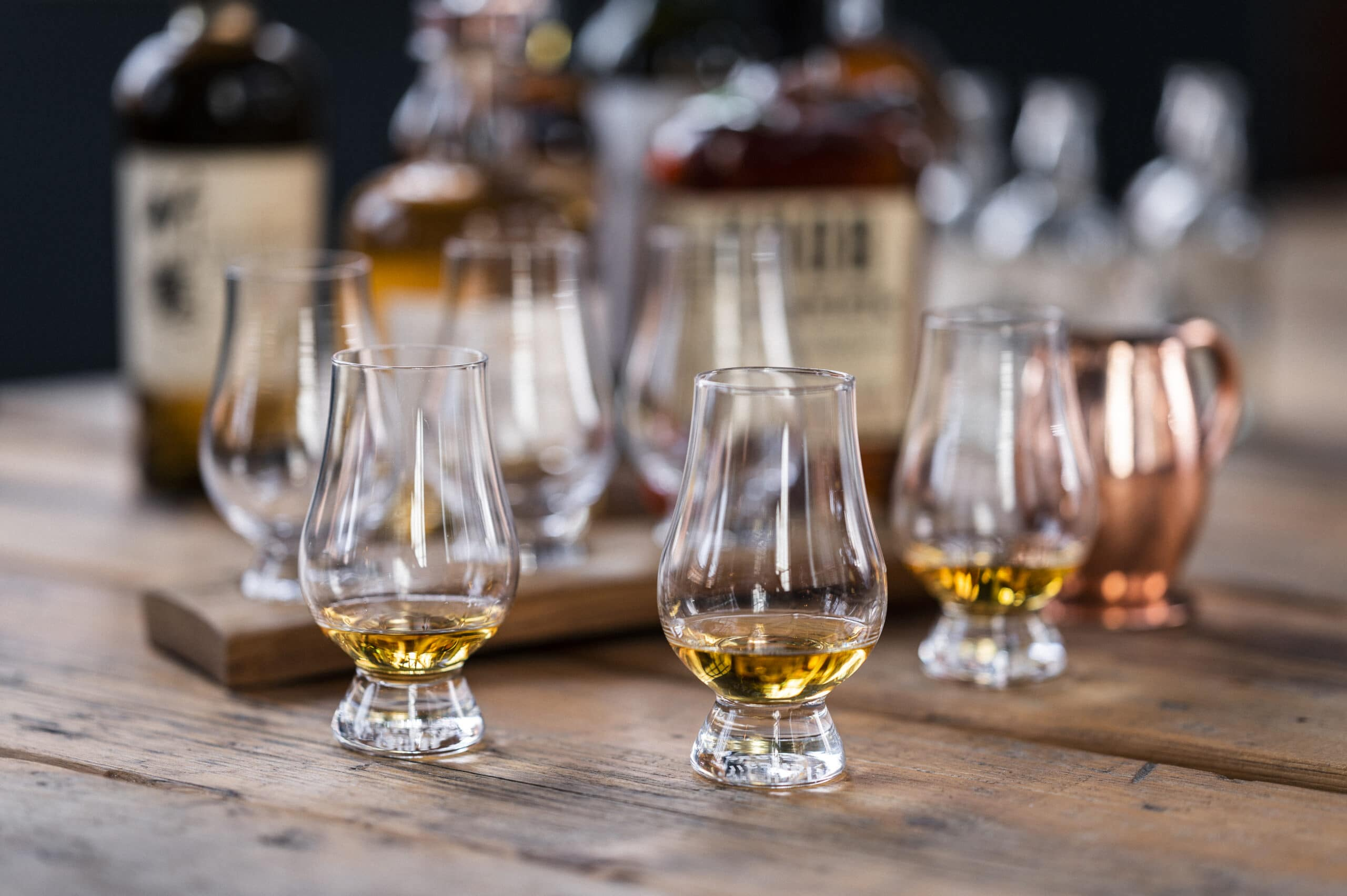 Whisky in snifter glasses at Grain and Glass, Birmingham