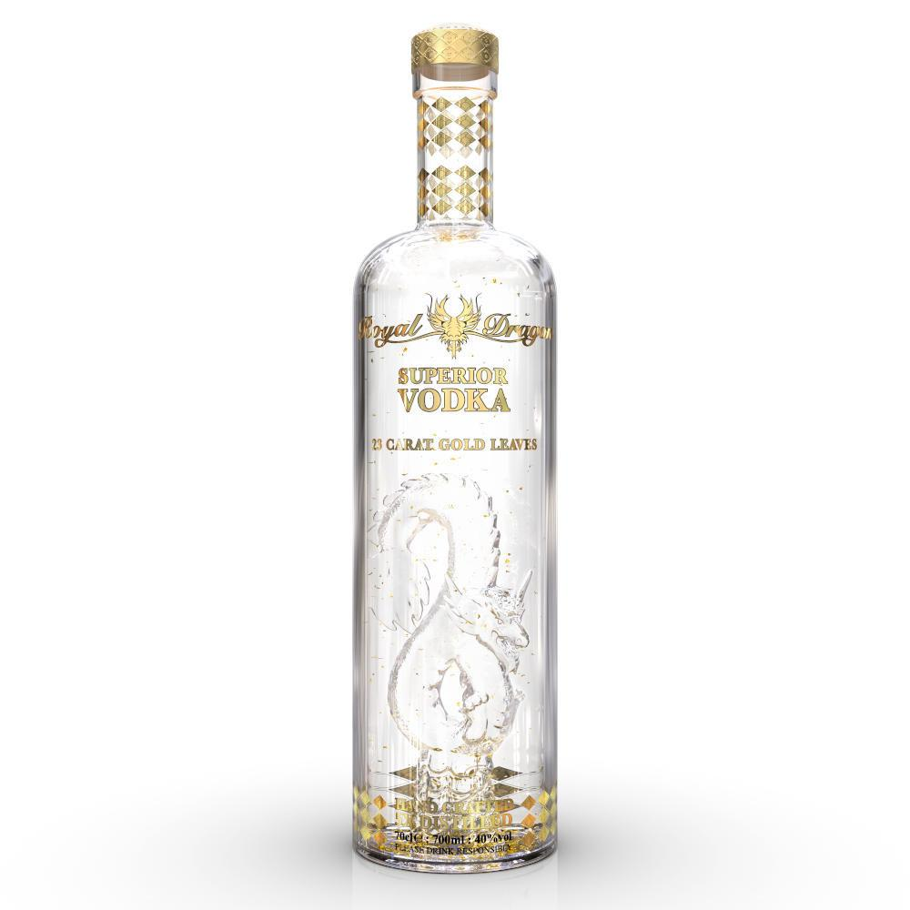 A clear glass 70cl bottle of Royal Dragon Imperial with Gold Leaves Vodka