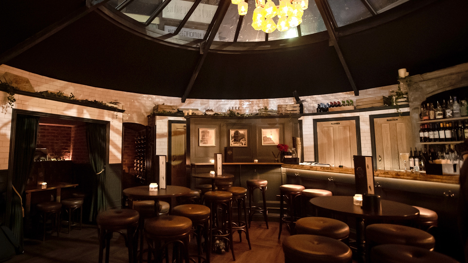 The Victorian designed WC Newcastle cocktail bar, with a domed glass ceiling
