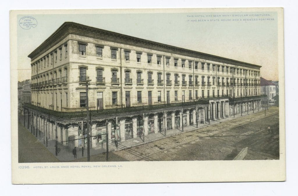 New Orleans, Louisiana. Postcard view of the St. Louis Hotel AKA the City Exchange Hotel formerly Hotel Royal, and home to the Brandy Crusta recipe, dated 1906.