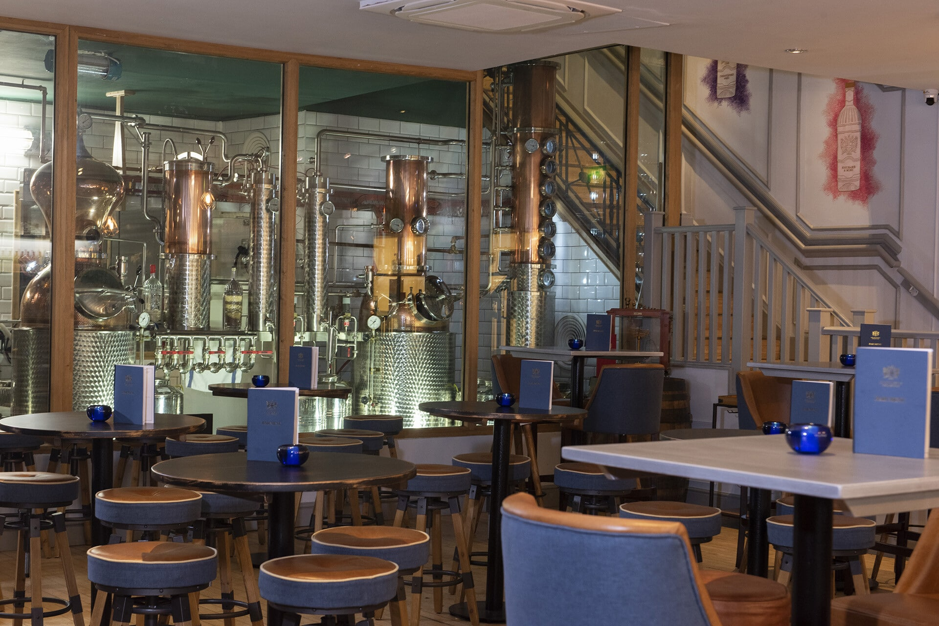 The bar at the City of London Gin Distillery