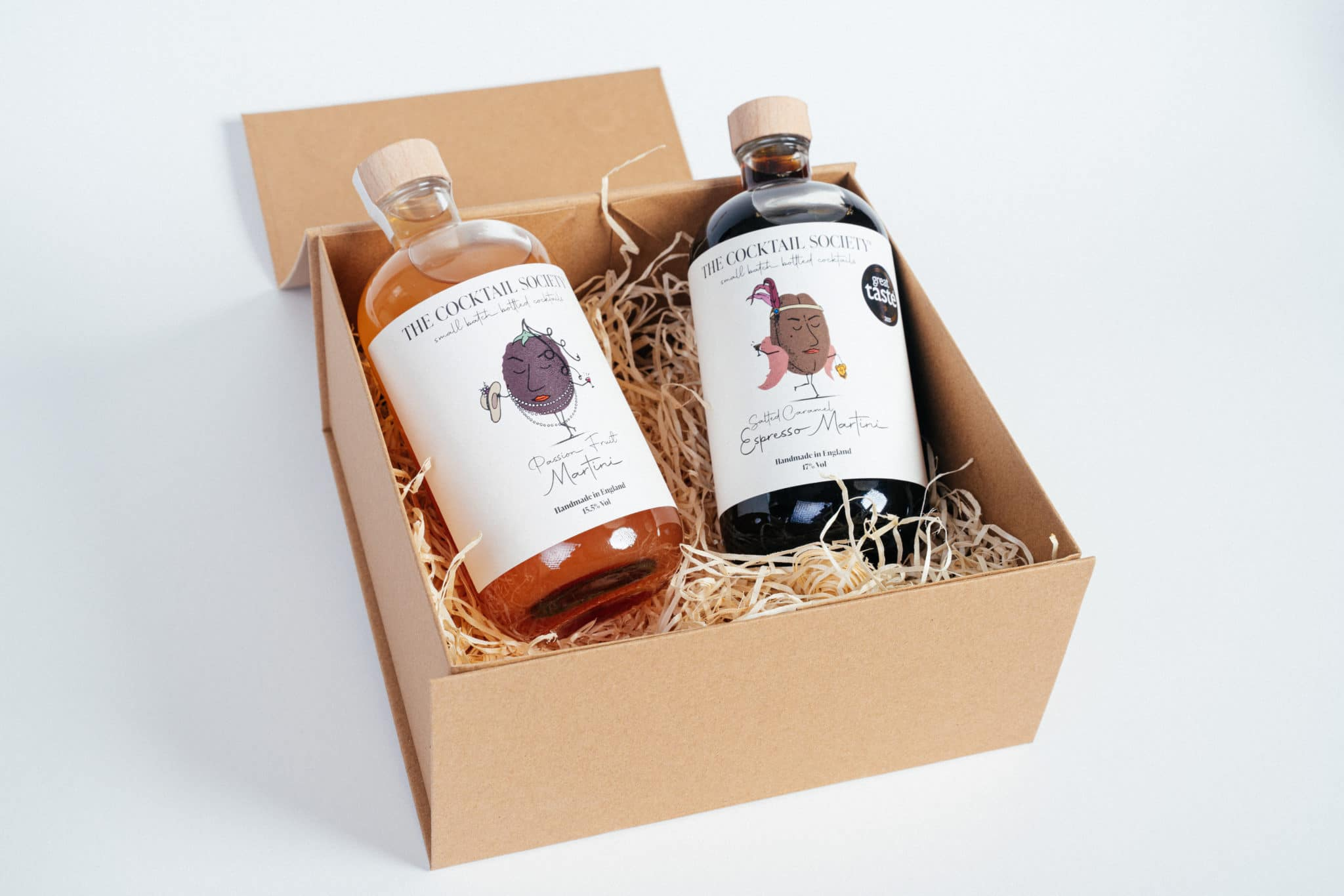 Two bottled cocktails from The Cocktail Society range